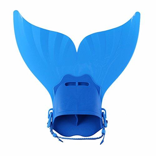FITTOO Meerjungfrau Schwimmflossen Monoflosse für Kinder unter 15 Jahre –Tauchflossen Schwanzflosse Blau