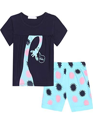 Bricnat Mädchen Schlafanzug Giraffe Drucken Nachtwäsche Baumwolle Kinder Frühling Sommer Bekleidung Pyjama Set Rosa Kurze Ärmel Pyjama Zweiteiliger Schlafanzug Shorty - Rosa Kurzer Schlafanzug