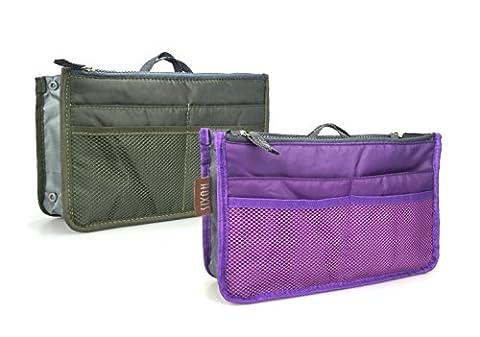Hoxis Nylon Handbag Insert Comestic Gadget Purse Organiser ,Expandable, with Handles (2piece)