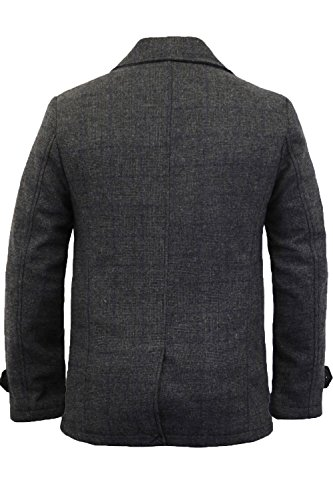 Herren Wolle -mischung Jacke Tokyo Laundry Tweed Kariert Zweireihiger Trenchcoat Neu Dunkelgrau - 1J8153