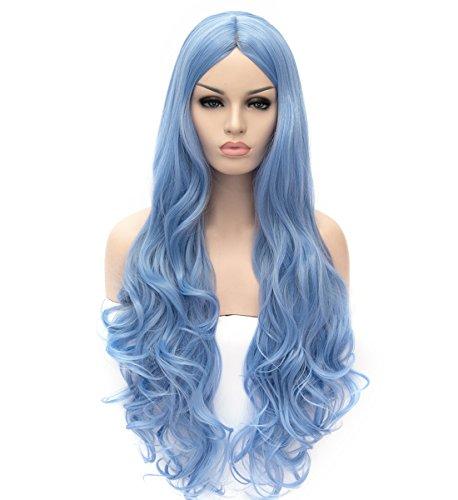 ATAYOU® lange gewellte lockige synthetische Cosplay Perücken für Frauen Halloween und Party Fancy Dress mit 1 Freie Perücken Kappe (Blau)