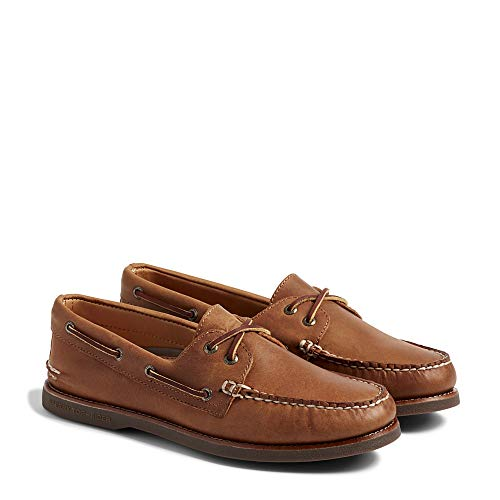 Sperry Top-Sider Men's Gold A/O 2-Eye Moc Toe Boat Shoe,Tan/Gum Full Grain Leath Eye Moc