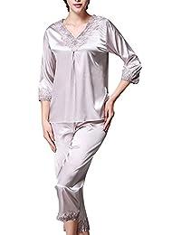 557c4fc2d0 Women Sleepwear Classtic Satin Pajama 2 Piece Set Long Sleeve Soft V Neck  Nightwear