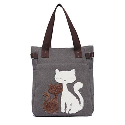 SANNU Damen Segeltuch Schulter Beutel Handtaschen Nette Katzen Schultertasche Große Einkaufstasche Grau