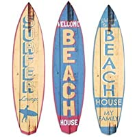 Art Deco Home - Adorno Pared x3 Tablas Surf Madera 47 cm Vintage - 14731SG