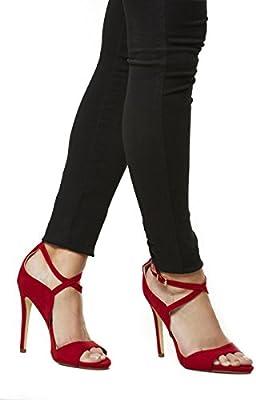 Life & Style Mujer Guantes Pumps Stiletto Sling Sandalias de High Heel sandalette Ideal JZ de 2496Rojo Red Women