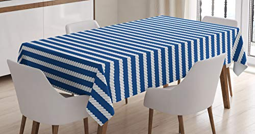 ABAKUHAUS Marine Tischdecke, Seil Streifenmuster, Für den Inn und Outdoor Bereich geeignet Waschbar Druck Klar Kein Verblassen, 140 x 200 cm, Weiß und Blau Bereich Marine