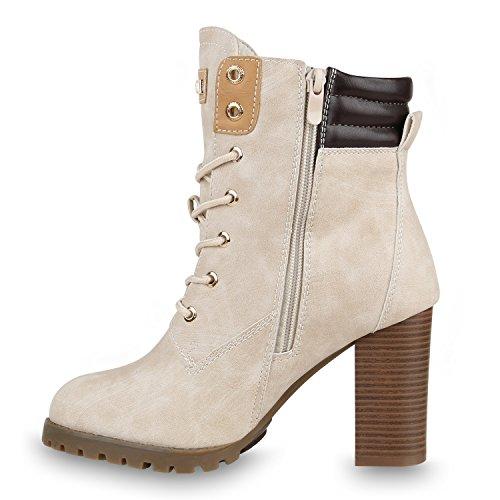 Warm Gefütterte Damen Stiefeletten Worker Boots Outdoor Schuhe Creme Warm Gefüttert