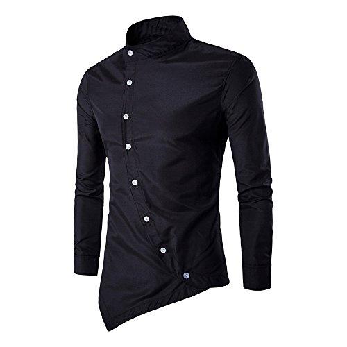 Beauty top camicia uomo maglietta irregolare camicie slim fit elegante manica lunga t-shirt top beautytop (nero, l)