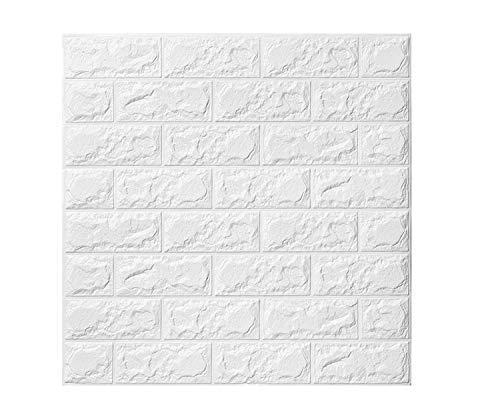 Carta da parati in mattoni 3D, pannelli in schiuma polietilene con adesivo rimovibile per l'ufficio in soggiorno (bianca mattone 5 pezzi)