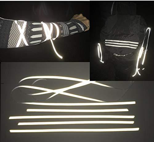 400cm Reflektor Schnur/Band (dehnbar) 5mm - Hochreflektierend Reflektierender Stoff - Reflexstoff zum Anbinden an Reißverschluss Taschen Hosen Rad Kleidung - Plus an Sicherheit in der Nacht -