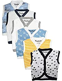 Tinchuk Cotton Front Open Sleeveless Vest- Tshirt -Perfect Summer Wear for Your Baby - Multi-Coloured Set of 6