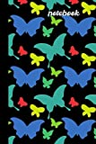 Notebook: small lined Black & Blue theme Butterfly Notebook / Travel Journal to write in (6'' x 9'')