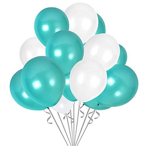 Luftballons Türkis Weiß, 100 Stück 12 Zoll Luftballons von Luftballon Türkis und Luftballons Weiß, Latexballons für Baby Shower Junge, Taufdeko Junge, Deko Geburtstag, Türkis Hochzeit (Türkis & Weiß)