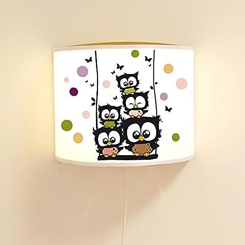 ilka parey wandtattoo-welt® Leseschlummerlampe Leselampe Schlummerlampe Wandlampe Lampe Eulen Konfetti auf Schaukel mit Schmetterlingen und Punkten Ls56