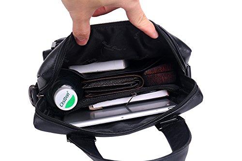 Genda 2Archer Leder Büro Handtasche Business Tote Tasche für Männer (Kaffee) Schwarz