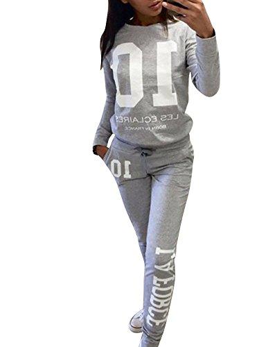 Donna Tuta Da Ginnastica Jogging Tuta Sportiva Fitness Sport Felpa e Pantaloni Grigio S