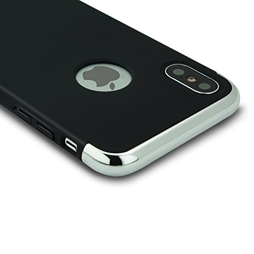 iPhone X Coque Étui Hybrid en Polycarbonate 3 en 1 Ultra Mince Antichoc ÉTUI HOUSSE Protecteur(iphoneX 5.8,argent) noir