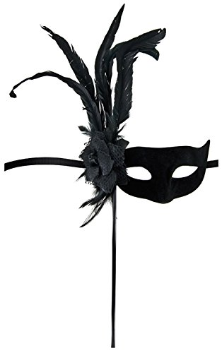 Maskarade Maske Wolf schwarz mit Blume/Federn