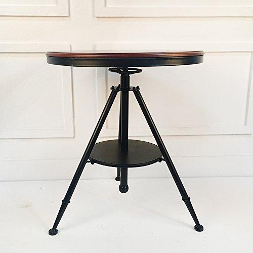 ZHIRONG Table basse circulaire de style industriel d'art de fer, taille réglable, 55 * 60-75CM