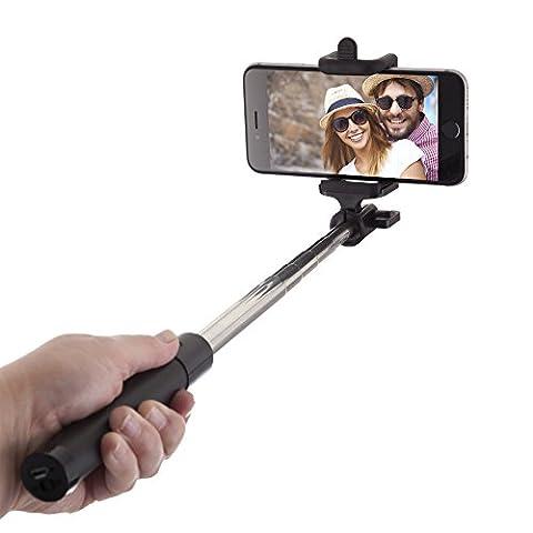 Power Theory Bluetooth Selfie Stick mit 20 Stunden Akkulaufzeit - Kabellose Wireless Selfie Stange für iPhone X 8 7 Plus 6s 6 SE 5S 5 Samsung Galaxy Android S8 S7 Edge S6 S5 S4 Note Mini Smartphone - Universal Monopod (Handy Akkulaufzeit)