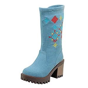 JUSTSELL_Schuhe Damen Winter,Frauen Stickerei Drucken Stiefel Reißverschluss Dicker Absatzschuhe Casual Boots Schuhe