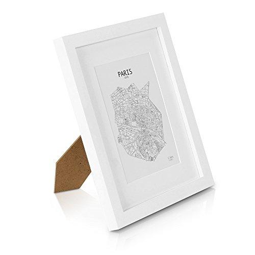 10x13 Weißen Bilderrahmen (Classic by Casa Chic Echtholz Bilderrahmen 20x25 (10 x 8 inch) - Weiß - mit 13x18 Passepartout - mit Echtglas - Rahmenbreite 2cm!)