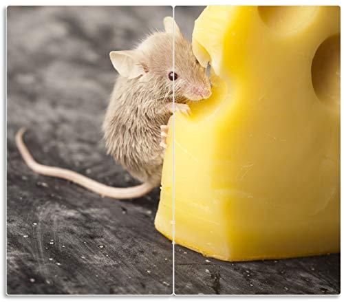 Wallario Herdabdeckplatte/Spritzschutz aus Glas, 2-teilig, 60x52cm, für Ceran- und Induktionsherde, Süße Maus knabbert an Einem Käse in der Küche