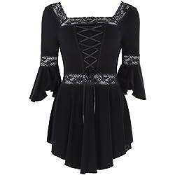 Belle Poque Tops Blusa Gotica de Steampunk de Las Mujeres Ajustado de Cuello Cuadrado Negro L