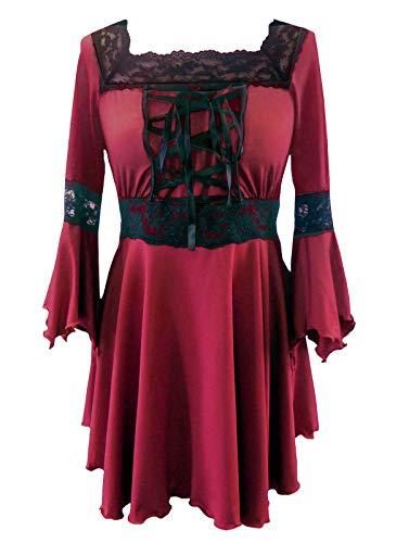(Red Raven Blouse) Reiches Rot Raven Mittelalter Gothic Korsett Lace Bluse in den Größen 42-44