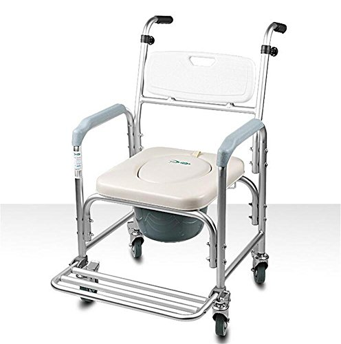 NEEDED Y Ältere Kommode Stuhl Deluxe Wheeled Dusche Kommode Stuhl Rollstuhl Töpfchen Stuhl Ältere Schwangere Frauen Aluminiumlegierung Mobile Toilette (Deluxe Kommode Stuhl, Dusche)