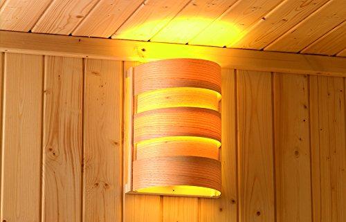 Karibu Saunaleuchte Classic Abmessungen: 27 x 20,5 x 16 cm Ausführung: für Starkstrom Material: Espenholz Farbe: naturbelassen Steuerung: über Sauna Steuerung oder ext. Schalter Silikonkabel: nicht im Lieferumfang enthalten (Zubehör) Leutmittel: ohne Leuc