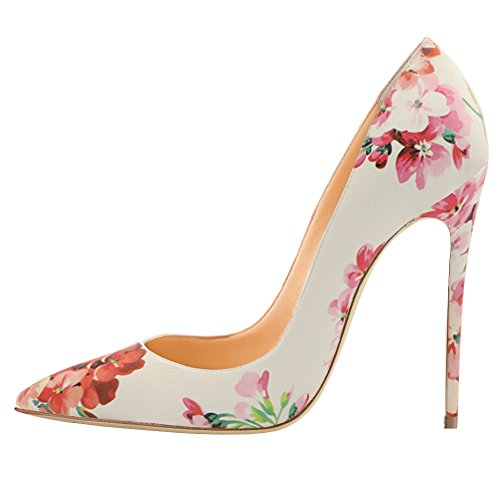 EKS Women's Gradient&Print Pointed Toe Stiletto Patent Leather Dress Pumps