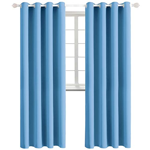 BGment Ösenvorhang Thermovorhang blickdichte Gardine,228 x 117 cm (H x B),2er-Set,Blau Verdunkelungsvorhänge Blickdicht Vorhang mit Ösen für Wohnzimmer(2X H 228 X B 117cm,Blau) - Für Vorhänge Blau Wohnzimmer