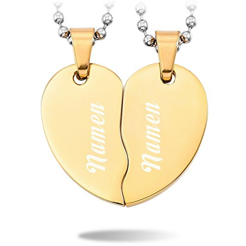 MeMeDIY 2 PCS Golden Ton Edelstahl Anhänger Halskette Herz Paar Paare mit 50cm & 58cm Kette - Kundenspezifische Gravur (Herz Halskette Paar)