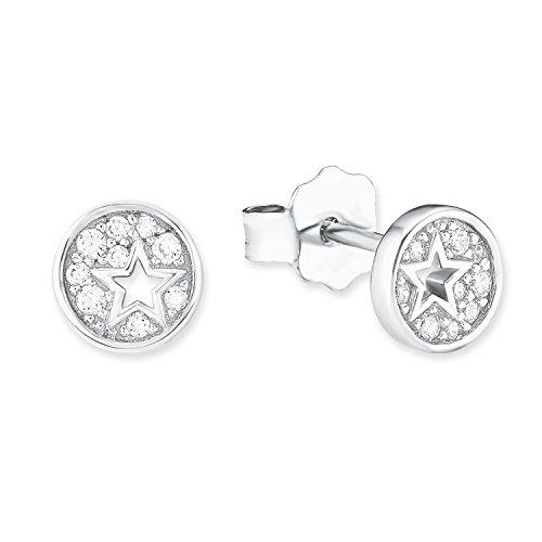 S.Oliver Kinder Ohrstecker runde Sterne 925 Sterling Silber rhodiniert Zirkonia weiß
