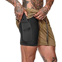 Pantalones Deportivos Cortos para Hombre 2 in 1, Morbuy Verano de Running Ciclismo Fitness Training Deportes Pants Transpirable Secado Rápido Shorts con Bolsillos (XL,Caqui)