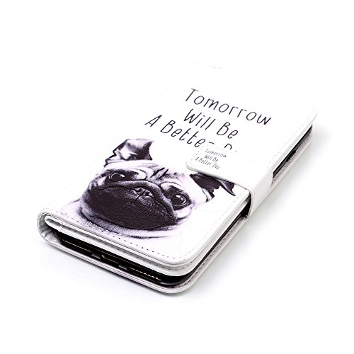 Cover iPhone 7 Plus, Custodia iPhone 8 Plus a Libro, Flip Portafoglio Cover in Pelle + Bumper Custodia in Silicone TPU Morbido, Surakey Elegante Full Body Protezione Posteriore iPhone 7 Plus Custodia  Pug