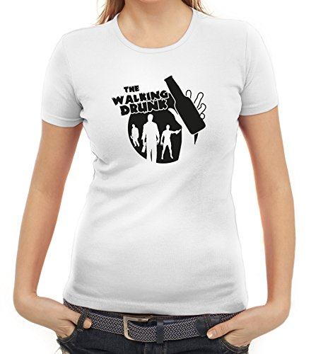Junggesellenabschieds JGA Hochzeit Damen T-Shirt Bottle The Walking Drunk Weiß