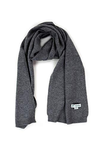 Caputo purecachemire Sciarpa Vajont in maglia rasata con bordi e finitura in costina 100% cachemire Grigio Scuro