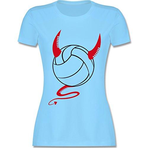 Volleyball - Teufel Volleyball Teuflischer - tailliertes Premium T-Shirt mit Rundhalsausschnitt für Damen Hellblau