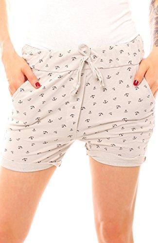 Damen Sommer Shorts kurze Hose Jersey Hotpant Strandshorts Strandhose maritim Anker Print One Size beige