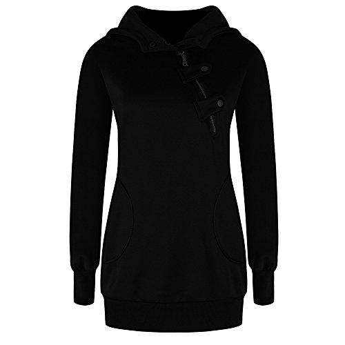 TYHHK Frauen Langarm Pullover Pullover Mantel Sweatshirt Outwear Pullover Schwarz