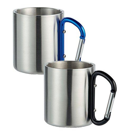 Lot de 2 tasses à café double paroi en acier inoxydable, fixation mousqueton pour sac à dos avec poignée et mousqueton bleu de shopping-hC