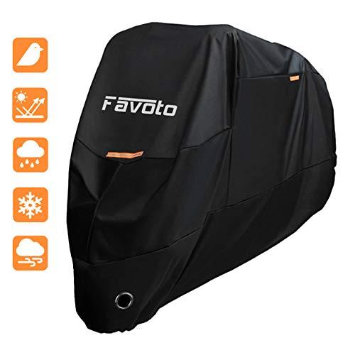Favoto Housse Protection pour Moto 104' Couverture Polyester 190T Résistant aux déjections d'oiseaux, à l'Eau, à la Poussière/ Neige/ Pluie, au Vent, UV pour Moto Scooter Custom- 265*105*125cm (XXXL)