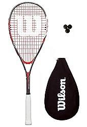 Dunlop Biotec Max Ti Raqueta De Squash + 3 Pelotas De Squash - Tamaño de cabeza - 500cm2 - Estampado cuerdas- 16 x 18 Powermax - Set completo con 3 pelotas de squash