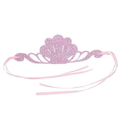 Amosfun Baby Kleinkind Glitter Meerjungfrau Geburtstag Hut Krone Stirnband Haarband Meerjungfrau Geburtstagsparty liefert Gefälligkeiten (Pink)