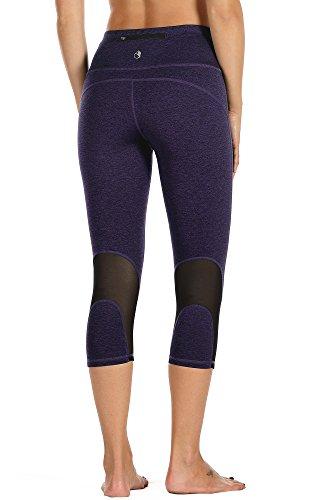 icyzone Damen Sport Mesh Leggings - 3/4 Sporthose kurz Training Tights Fitness Capri Yoga Pants (L, Purple)