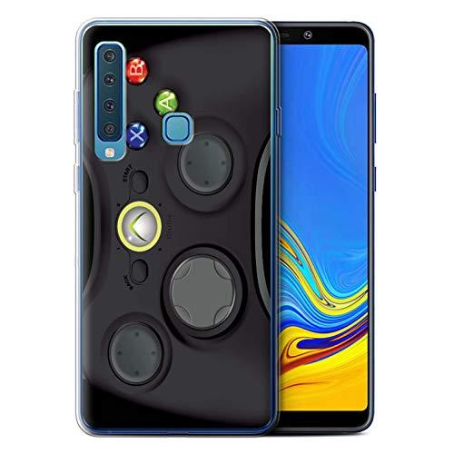 eSwish Custodia/Cover/Caso/Cassa Gel/TPU/Prottetiva Stampata con Il Disegno Console di Gioco per Samsung Galaxy A9 2018 - Xbox 360 Nera