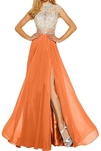 ivyd ressing Donna Elegante due pietre NOTEBOOK Chiffon & Tuell A-line di Party festa Prom abito abito sera vestito Orange